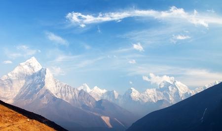 Evening view of mount Ama Dablam on the way to Mount Everest Base Camp, Khumbu valley, Solukhumbu, Sagarmatha national park - Nepalese himalayas mountains