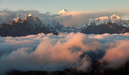 Evening sunsed red colored view on top of mount Makalu, Nepal Himalayas mountains
