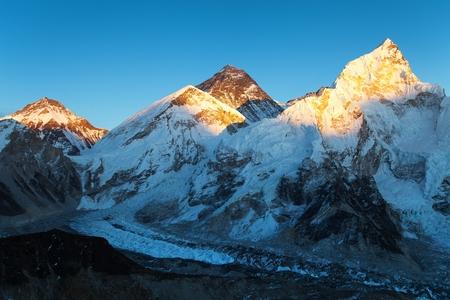 Evening colored view of Mount Everest and Nuptse from Kala Patthar, Khumbu valley, Solukhumbu, Mount Everest area, Sagarmatha national park, Nepal Himalayas mountains Stock Photo