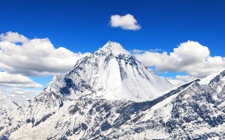 View of mount Dhaulagiri from Thorung La pass with beautiful sky, round Annapurna circuit trekking trail, Nepal Himalayas mountains