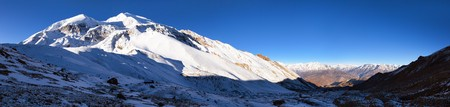 round Annapurna circuit trekking trail, panoramic view from Thorung La pass, Nepal