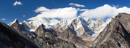 View of mount Cho Oyu from Kongma La pass, Khumbu valley, Solukhumbu, Sagarmatha national park, Nepal Himalayas mountains
