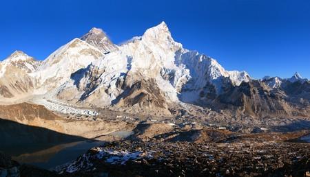 Evening sunset panoramic view of mount Everest with beautiful blue sky from Kala Patthar, Khumbu valley, Sagarmatha national park, Nepal Himalayas