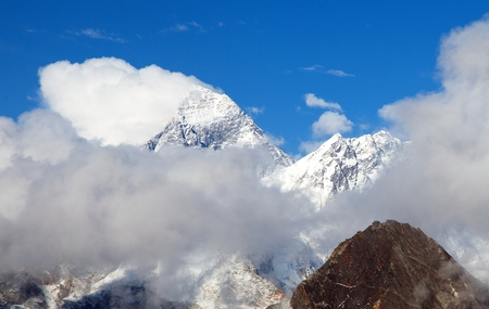 Mount Everest, panoramic view of Everest with beautiful clouds on the top, Everest area, Nepal Himalayas mountains