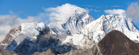 Panoramic view of mount Everest and Lhotse with beautiful clouds on the top from Gokyo Ri, Everest area, Sagarmatha national park, Khumbu valley, Nepal Himalayas mountains