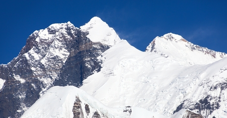 View of Everest Lhotse and Lhotse Shar from Makalu Barun valley, Nepal Himalaas mountains