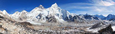 himalaya, panoramic view of himalayas mountains, Mount Everest with beautiful sky and Khumbu Glacier - way to Everest base camp, Khumbu valley, Sagarmatha national park, Nepal Himalazas mountains Stock Photo