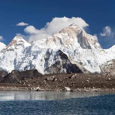 View of Mount Makalu mirroring in lake near Kongma La pass, three passes trek, way to Everest base camp, Khumbu valley, Solukhumbu, Sagarmatha national park, Nepal Stock Photo