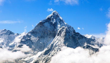 Mount Ama Dablam within clouds, way to Everest base camp, Khumbu valley, Solukhumbu Sagarmatha national park, Everest area, nepalese himalayas, Nepal