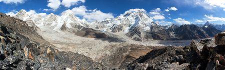 Panoramic view of Everest, Pumori, Kala Patthar and Nuptse with beautiful clouds on sky, Khumbu valley and glacier, Sagarmatha national park, Solukhumbu, Nepal Himalayas mountains