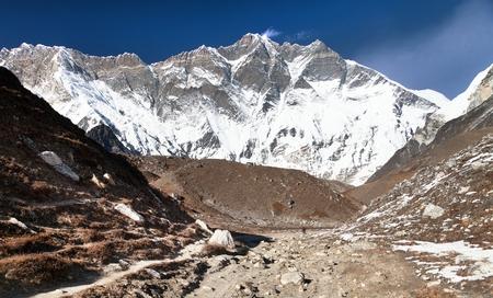 View of top of mount Lhotse south rock face, Sagarmatha national park, Khumbu valley, Nepal Himalayas mountains Standard-Bild - 102652464