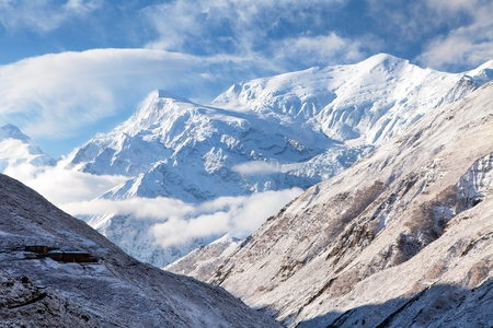 View of Annapurna 3 III, Annapurna range, way to Thorung La pass, Nepal Himalayas mountains, round Annapurna circuit trekking trail