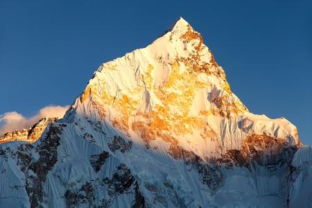 evening sunset view of mount Nuptse from Kala Patthar, Nepal Himalayas mountains Stock Photo