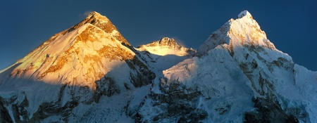 Evening sunset view on top of Mount Everest and Lhotse, from mount Pumo Ri base camp - Sagarmatha national park, Khumbu valley, Nepal