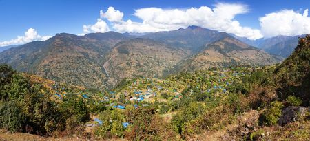 Gudel and Bung villages, Nepal himalayas in lower part of Solukhumbu area, Panoramic view