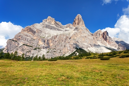 View of Monte Pelmo with mountain pine, South Tirol, Dolomites mountains, Italien European Alps Stock fotó
