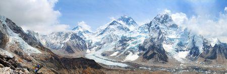 himalaya, panoramic view of himalayas mountains, Mount Everest with beautiful sky and Khumbu Glacier - way to Everest base camp, Khumbu valley, Sagarmatha national park, Nepal Himalayas mountains