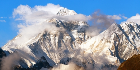 Evening panoramic view of mount Everest and Lhotse with beautiful clouds on the top from Gokyo Ri - Everest area, Khumbu valley, Nepal