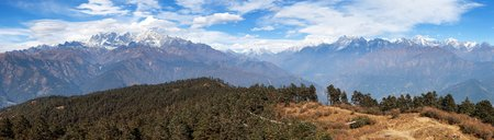 Panoramic view of himalaya range - trekking trail from Jiri Bazar to Lukla and Everest base camp, nepalese himalayas, Nepal