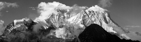 Black and white panoramic view of mount Everest and Lhotse with beautiful clouds on the top from Gokyo Ri - Everest area, Khumbu valley, Nepal Himalayas mountains