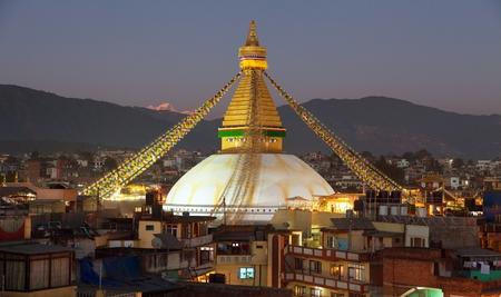 Evening or night view of Boudha or Bodhnath stupa - Kathmandu - Nepal Фото со стока