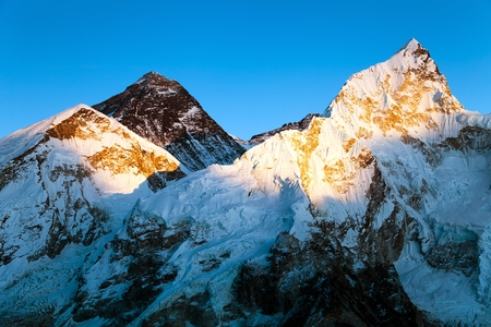 Evening colored view of Mount Everest and Nuptse from Kala Patthar, Khumbu valley, Solukhumbu, Mount Everest area, Sagarmatha national park, Nepal Himalayas mountains Stok Fotoğraf