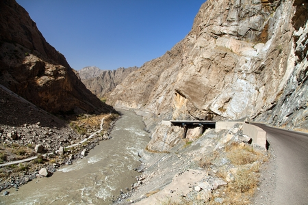 Panj river and Pamir mountains, Panj is upper part of Amu Darya river, Panoramic view from Tajikistan and Afghanistan border, Gorno-badakhshan region, roof of the world, Pamir highway 版權商用圖片