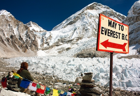 signpost way to mount everest b.c., Khumbu glacier man and prayer flags, Everest area, Nepal Himalayas mountains