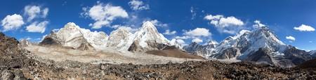 Panoramic view of Everest, Pumori, Kala Patthar and Nuptse with beautiful clouds on sky, Khumbu valley and glacier, Sagarmatha national park, Nepal Himalayas mountains