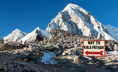 view of Kala Patthar and mount Pumori - signpost way to Kala Patthar - Nepal Himalayas mountains
