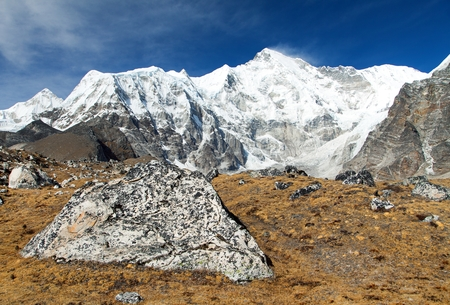 Mount Cho Oyu - way to Cho Oyu base camp - Everest area, Sagarmatha national park, Khumbu valley, Nepal Himalayas mountains