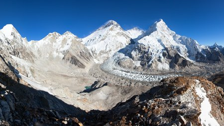 Beautiful view of mount Everest, Lhotse and nuptse from Pumo Ri base camp - way to Everest base camp - Nepal Himalayas mountains