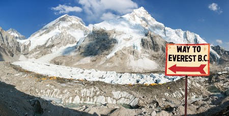 signpost way to mount Everest b.c. and Mount Everest, Lhotse and Nuptse from Pumo Ri base camp - way to Mount Everest base camp, Nepal himalayas mountains