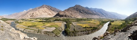 Fields aroun Panj river, panj is upper part of Amu Darya river, Gorno-Badakhstan, Tajikistan and Afghanistan border, Wakhan corridor valley, roof of the world, panoramic view