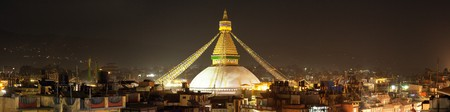 Evening or night view of Boudha or Bodhnath stupa - Kathmandu - Nepal Stok Fotoğraf