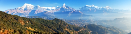 Mount Annapurna range, Nepal Himalayas mountains, panoramic view