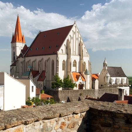 Gothic Church of St. Nicholas in czech Kostel svateho Mikulase, Znojmo, South Moravia, Czech Republic 版權商用圖片