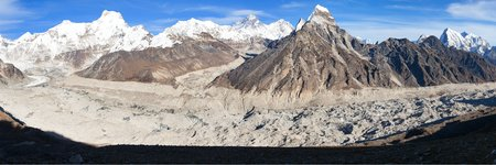 Panoramic evening view from Gokyo valley to Ngozumba glacier and mount Everest and Lhotse, Nepal Himalayas mountains 写真素材