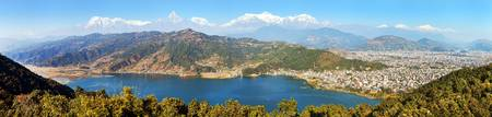 Panoramic view of Annapurna Dhaulagiri and Manaslu himalayan range, Pokhara and Phewa lake, Pokhara valley, Nepal Himalayas mountains
