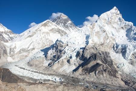 Panoramic view of mount Everest and mt. Nuptse, Khumbu valley and glacier, Sagarmatha national park, Nepal Himalayas mountains