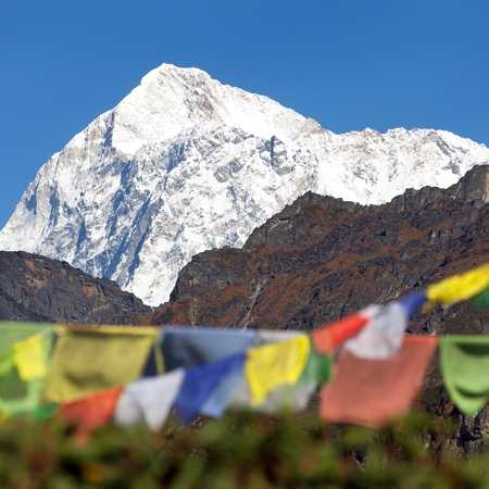 Mount Makalu with buddhist prayer flags, Maklu barun national park, Nepal Himalayas mountains