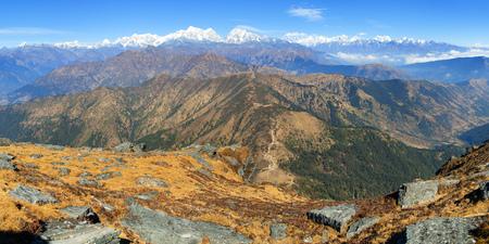 Panoramic view of himalaya range from Pikey peak - trekking trail from Jiri Bazar to Lukla and Everest base camp, nepalese himalayas, mounts Everest and Lhotse, Nepal Himalayas mountains Stock Photo