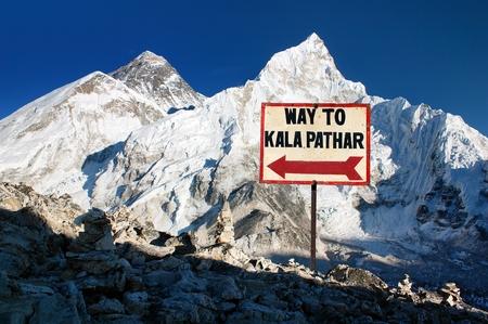 Panoramic view of mount Everest and mt. Nuptse, Khumbu valley and glacier - signpost way to Kala Patthar - Nepal Himalayas mountains