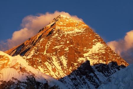 Evening colored view of Mount Everest from Kala Patthar, Khumbu valley, Solukhumbu, Sagarmatha national park, Nepal Himalayas mountains Stock Photo
