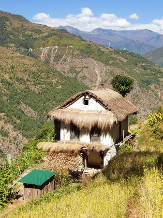 beautiful house in Nepal, Khumbu valley, Solukhumbu, Nepal Himalayas mountains landscape