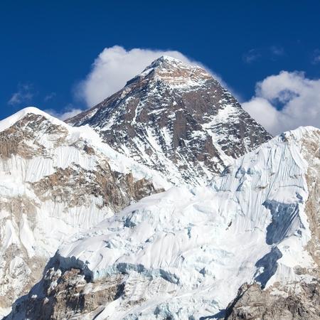 Panoramic view of mount Everest,  Khumbu valley and glacier, Sagarmatha national park, Nepal Himalayas mountains Stock Photo