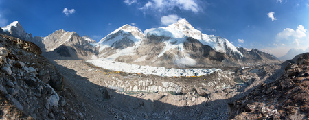 Evening panoramic view of Mount Everest base camp, Everest, Nuptse, Khumbu glacier, Sagarmatha national park, Nepalese himalayas mountains, top of the wotld