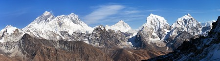 Panoramic view of Everest, Lhotse and Makalu from Renjo La pass - way to Everest Base camp, Three passes trek, Khumbu valley, Sagarmatha national park, Nepal Himalayas mountains