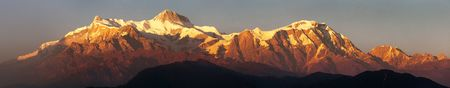 Evening, sunset view of mount Annapurna, Nepal Himalayas mountains