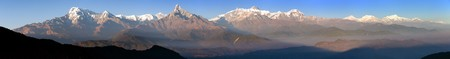 Evening sunset panoramic view of mount Annapurna Himal and Mt Manaslu, Nepal Himalayas mountains Stock Photo